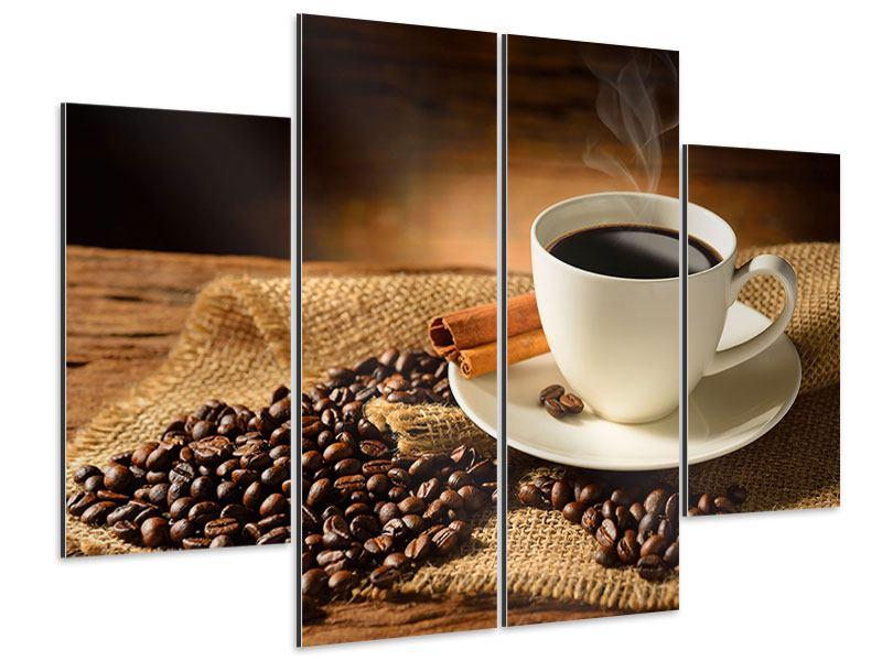 Aluminiumbild 4-teilig Kaffeepause