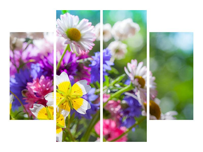 Aluminiumbild 4-teilig XXL Gartenblumen