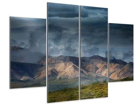 Aluminiumbild 4-teilig Silberstreifen