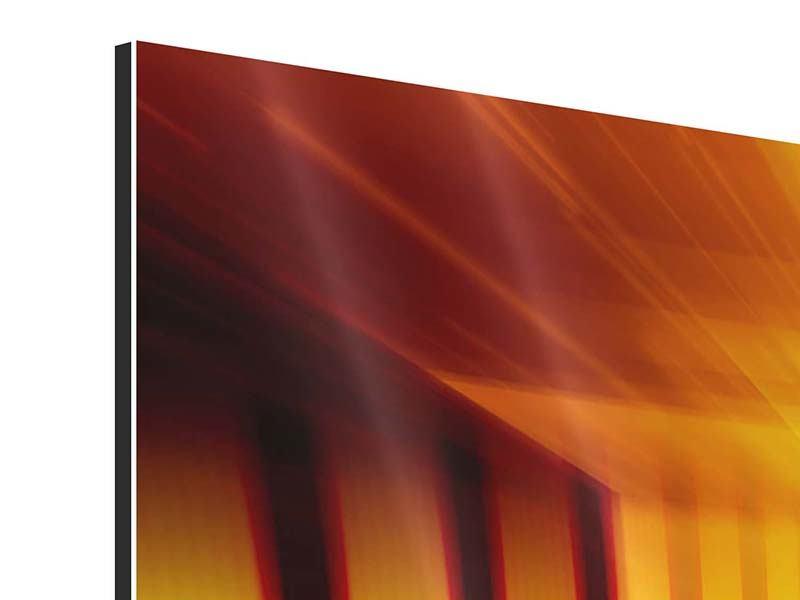 Aluminiumbild 4-teilig Abstrakter Goldener Raum
