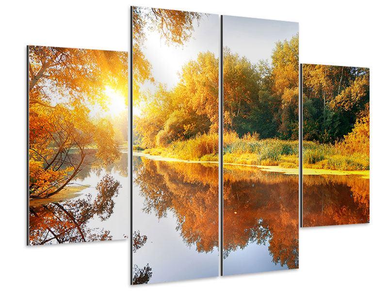 Aluminiumbild 4-teilig Waldspiegelung im Wasser