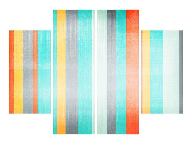 Aluminiumbild 4-teilig Grunge Streifen