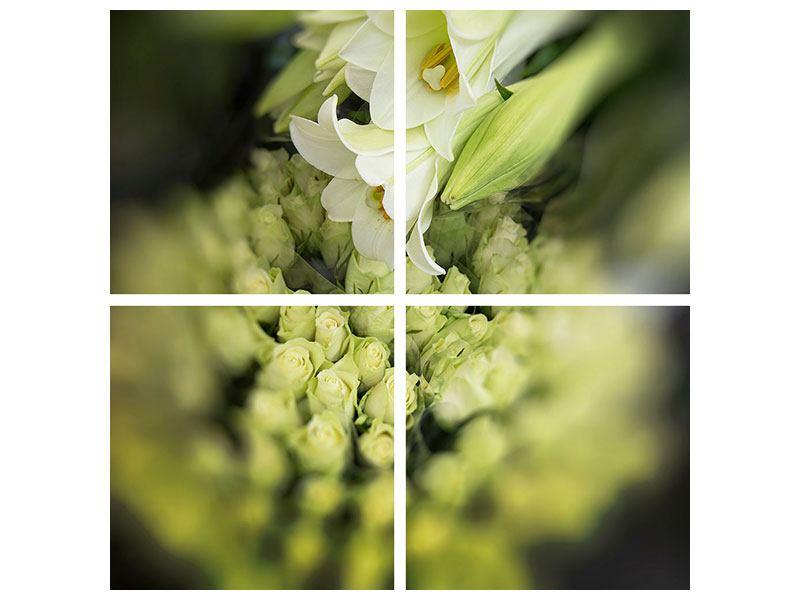 Aluminiumbild 4-teilig Die Lilien und Friends