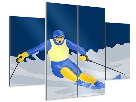 Aluminiumbild 4-teilig Skifahrer im Retrostyle