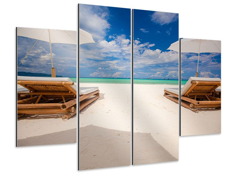 Aluminiumbild 4-teilig Liegen am Strand