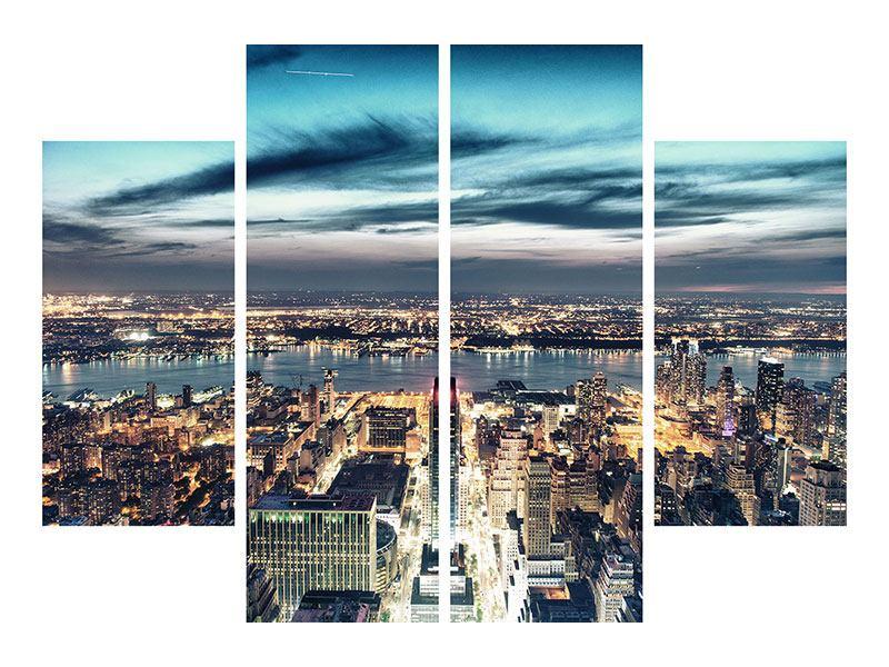 Aluminiumbild 4-teilig Skyline Manhattan Citylights