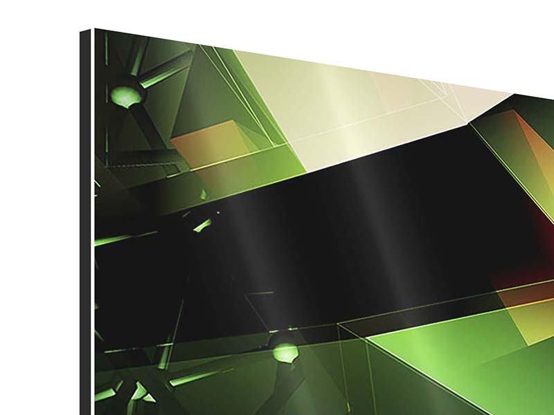 Aluminiumbild 4-teilig 3D-Polygon