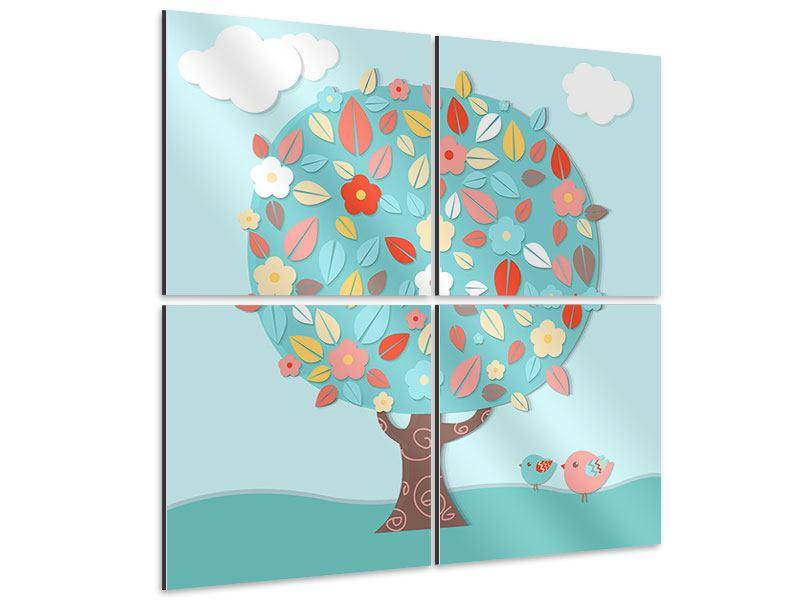 Aluminiumbild 4-teilig Der Kinderzimmer Baum