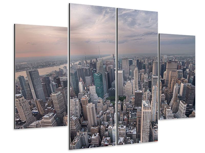 Aluminiumbild 4-teilig Skyline Blick über Manhattan