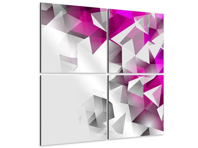 Aluminiumbild 4-teilig 3D-Kristalle Pink