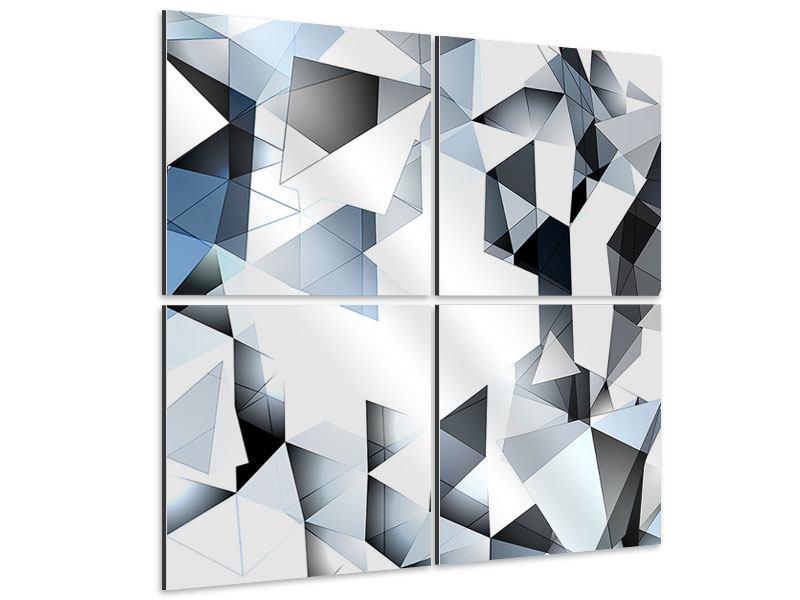 Aluminiumbild 4-teilig 3D-Kristalle