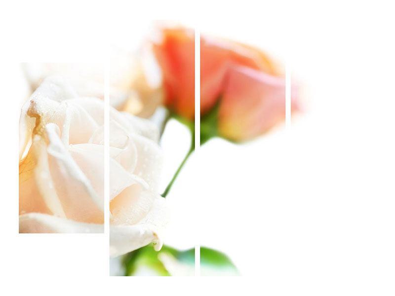 Aluminiumbild 4-teilig Rosenperspektive