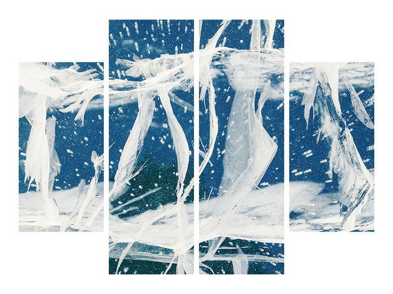 Aluminiumbild 4-teilig Eiskristalle
