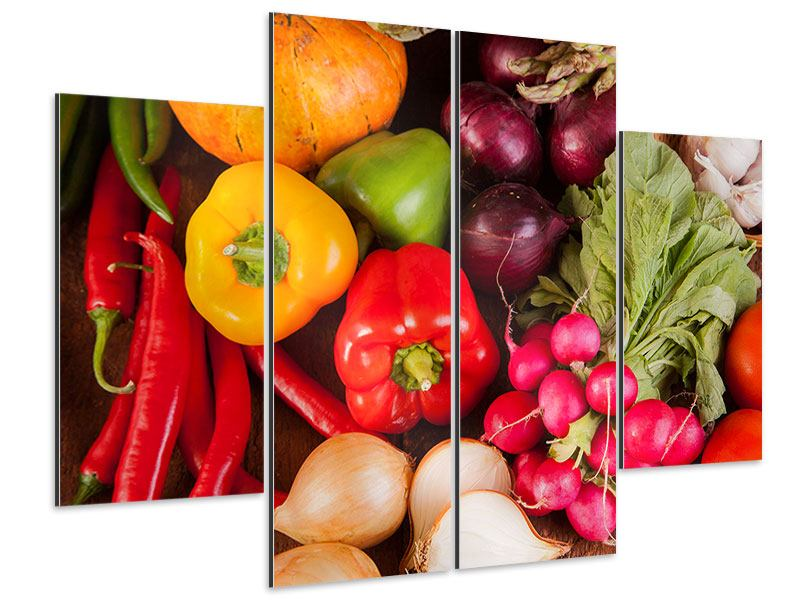 Aluminiumbild 4-teilig Gemüsefrische