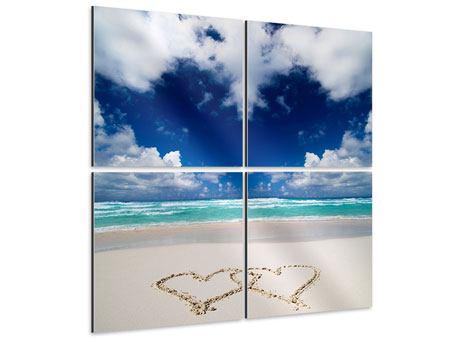 Aluminiumbild 4-teilig Strandliebe