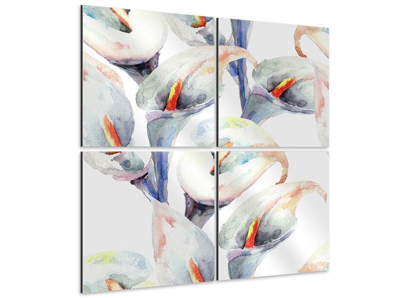 Aluminiumbild 4-teilig Lilien Aquarell