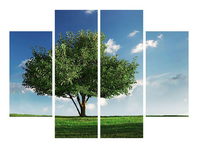 Aluminiumbild 4-teilig Baum im Grün