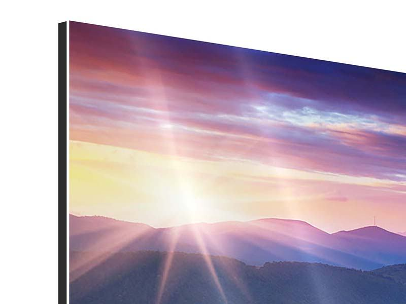 Aluminiumbild 4-teilig Sonnenuntergang in der Bergwelt