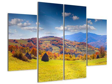 Aluminiumbild 4-teilig Herbstliche Berglandschaft