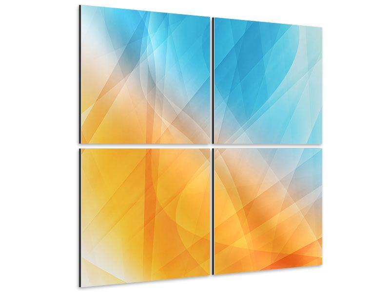 Aluminiumbild 4-teilig Abstrakte Fliessende Farben