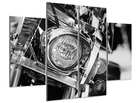Aluminiumbild 4-teilig Motorrad Close Up
