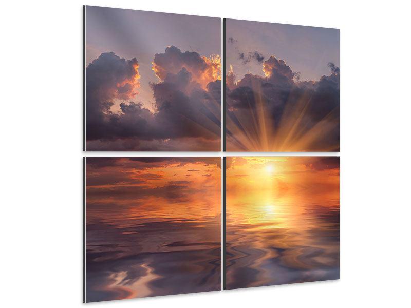Aluminiumbild 4-teilig Packender Sonnenuntergang