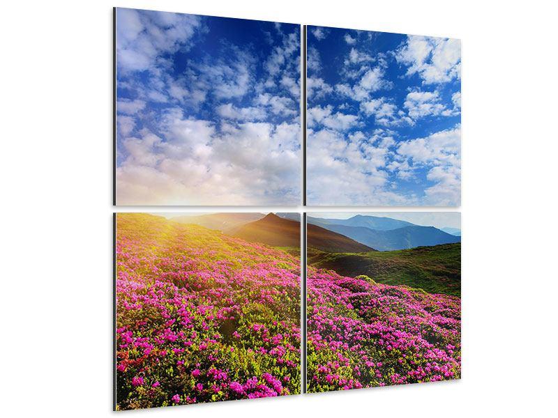 Aluminiumbild 4-teilig Blumige Berglandschaft