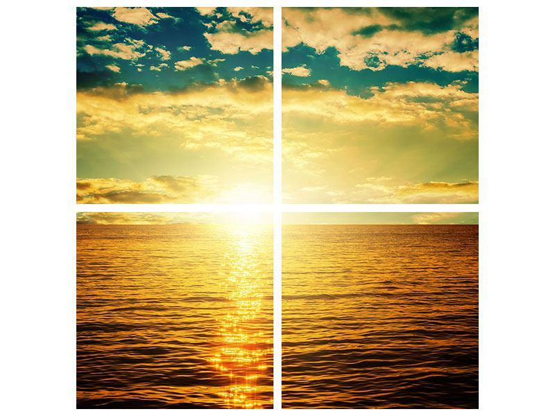 Aluminiumbild 4-teilig Sonnenuntergang am Meereshorizont