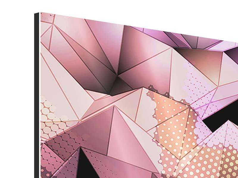 Aluminiumbild 4-teilig 3D-Kristallstruktur