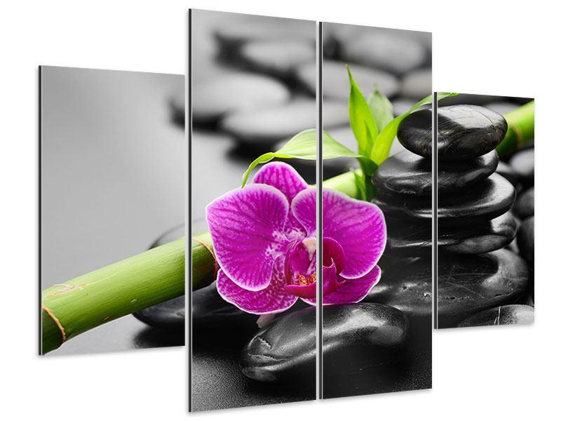Aluminiumbild 4-teilig Feng-Shui-Orchidee