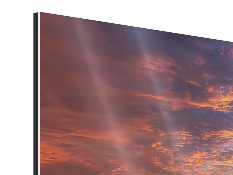 Aluminiumbild 4-teilig Sonnenuntergang
