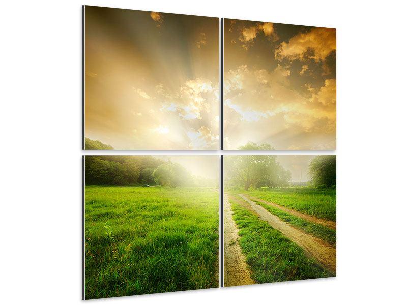 Aluminiumbild 4-teilig Mystischer Sonnenuntergang