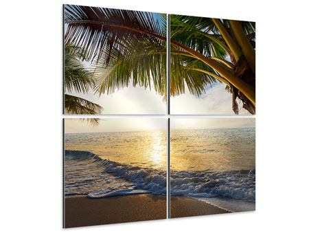 Aluminiumbild 4-teilig Strandsicht