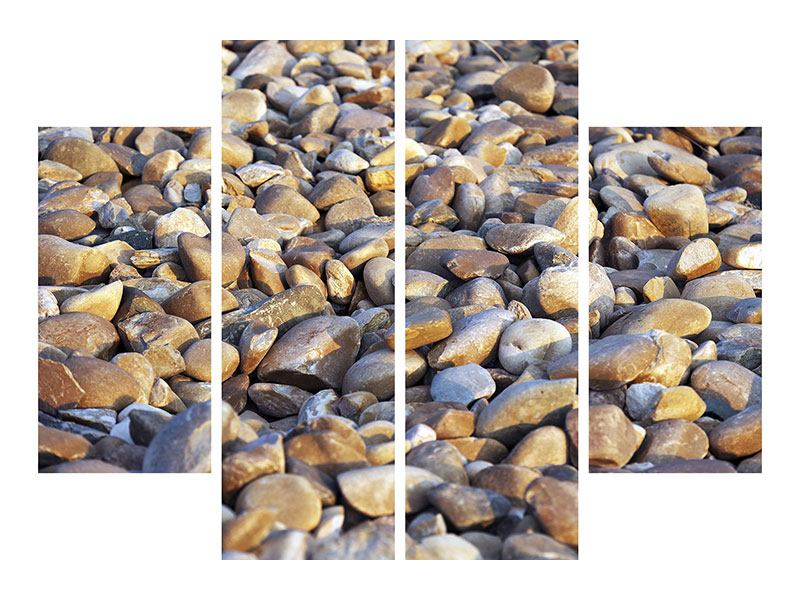 Aluminiumbild 4-teilig Strandsteine