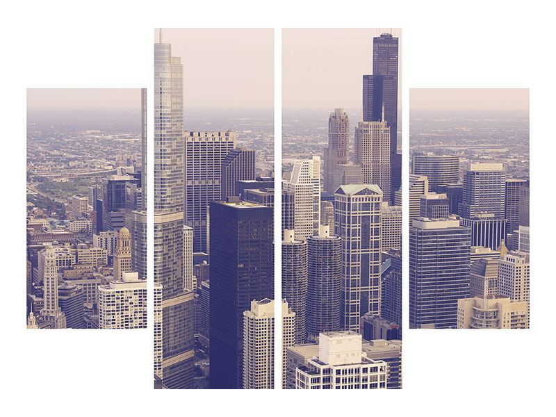 Aluminiumbild 4-teilig Skyline Chicago in Sepia