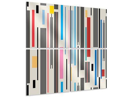 Aluminiumbild 4-teilig Grafische Streifen