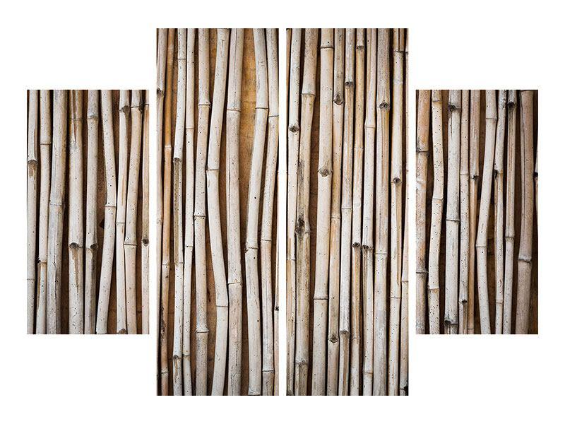 Aluminiumbild 4-teilig Getrocknete Bambusrohre