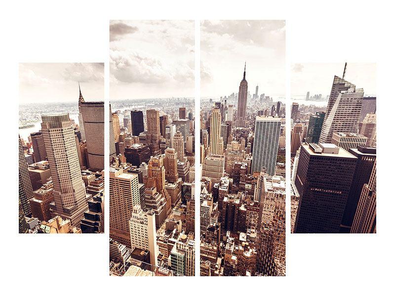 Aluminiumbild 4-teilig Skyline Über den Dächern Manhattans