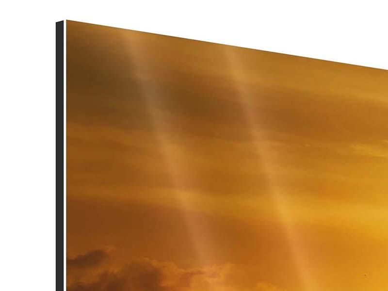 Aluminiumbild 4-teilig Sonnenuntergang See
