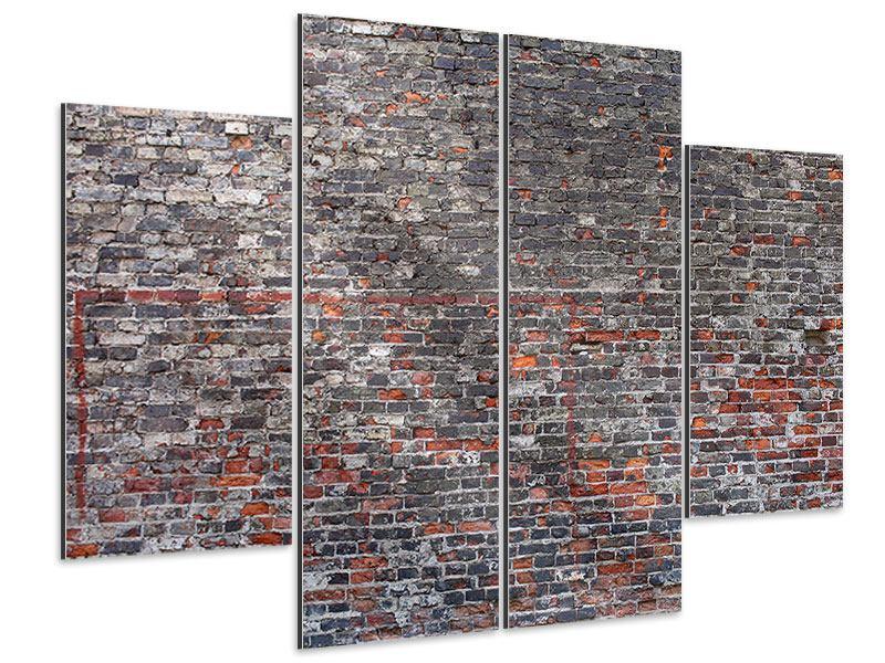 Aluminiumbild 4-teilig Alte Backsteine