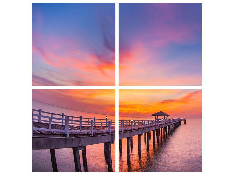 Aluminiumbild 4-teilig Die romantische Brücke bei Sonnenuntergang