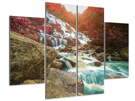 Aluminiumbild 4-teilig Exotischer Wasserfall