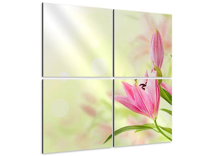 Aluminiumbild 4-teilig Lilien-Perspektive