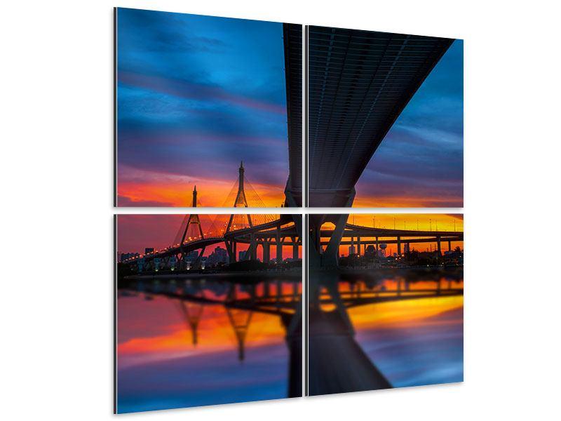 Aluminiumbild 4-teilig Bhumiboll-Brücke bei Sonnenuntergang