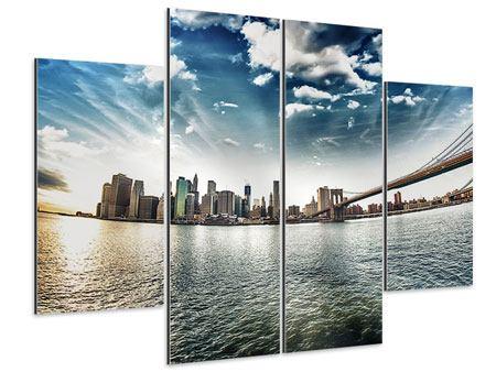 Aluminiumbild 4-teilig Brooklyn Bridge From The Other Side