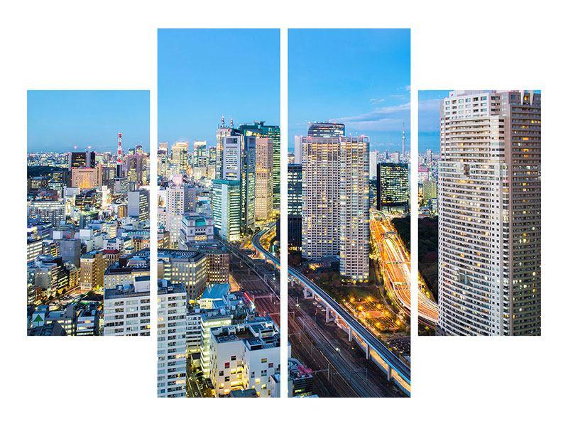 Aluminiumbild 4-teilig Skyline Tokio im Lichtermeer
