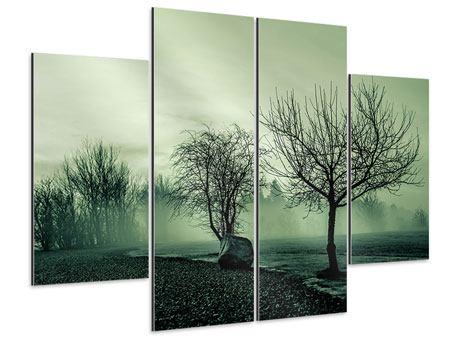 Aluminiumbild 4-teilig Der Auwald im Nebel