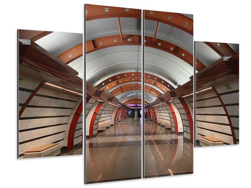 Aluminiumbild 4-teilig U-Bahn Station