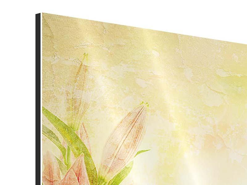 Aluminiumbild 4-teilig Lilien-Gemälde