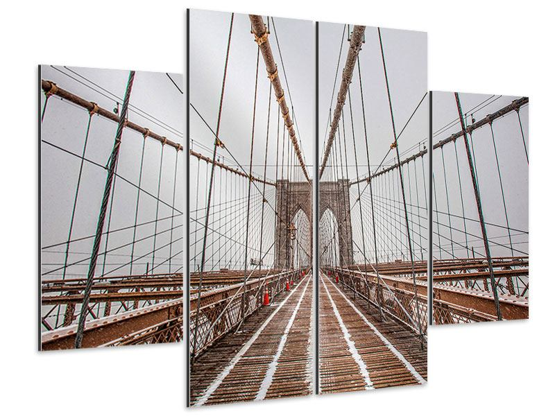 Aluminiumbild 4-teilig Auf der Brooklyn Bridge